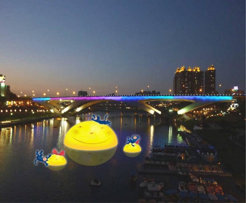 模擬照,幾米創作的裝置藝術將在碧潭陪民眾過中秋節。(金中玉服務處提供)