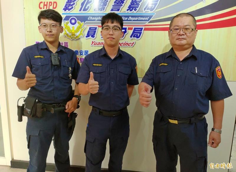 員林派出所員警劉俊毅、黃駿勝及賴志騰(左起)接受表揚途中又抓到竊賊。(記者陳冠備攝)