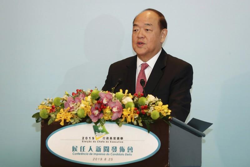 賀一誠是唯一獲北京批准的候選人,上月當選第5任澳門特區行政長官。(美聯社)