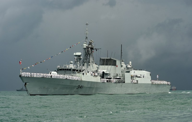 加拿大海軍哈利法克斯級巡防艦渥太華號(見圖)傳10日通過台灣海峽,中方不滿加方「高調」宣傳此事。(法新社檔案照)