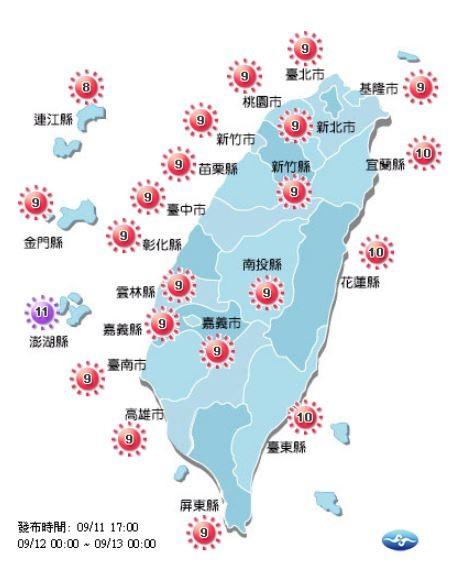 紫外線方面,明日除了澎湖縣達到「危險級」,全台各地皆達「過量級」。(圖擷取自中央氣象局)