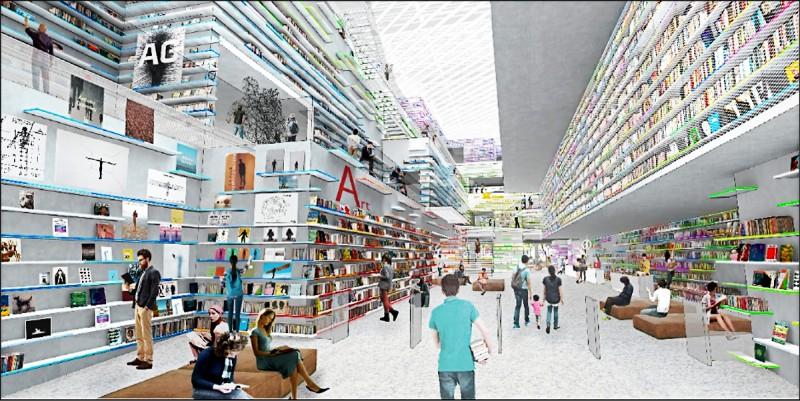 新竹市圖書館新總館採自然光、環境節能的美感設計。圖為示意圖。(記者洪美秀翻攝)
