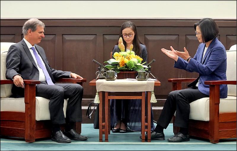 總統蔡英文(右)昨日在總統府接見美國國務院副助卿巴斯比(左),蔡總統表示,期待透過「印太民主治理諮商對話」做為台美定期交流的平台。(中央社)