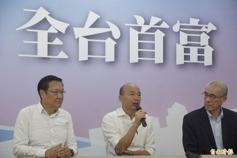 31位國民黨大老登報籲郭台銘要團結,韓國瑜說他事先只知道一部分。(記者黃佳琳攝)