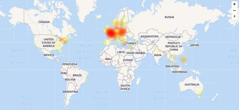 Messenger今晚9點起發生全球大當機,歐洲最為嚴重。(圖擷取自「DownDetector」診斷網站)