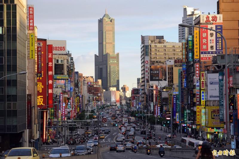 《天下雜誌》二十二縣市長施政滿意度調查,高雄市長韓國瑜排名最後。圖為高雄市景。(本報資料照。)