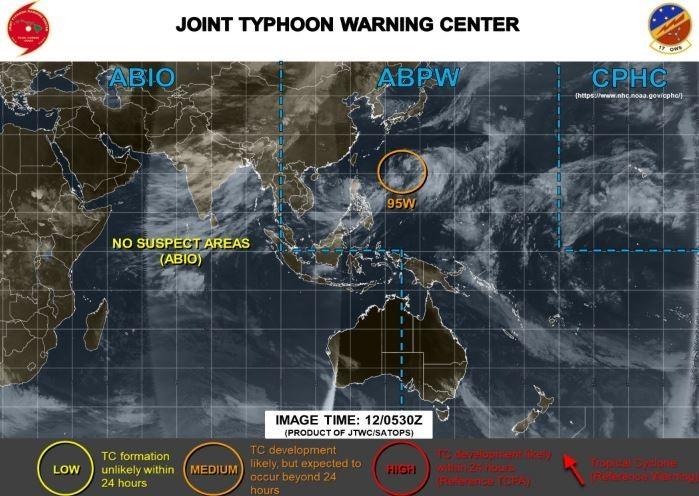 美軍示警,95W熱低可能會在24小時之後發展成颱風。(圖擷取自JTWC)