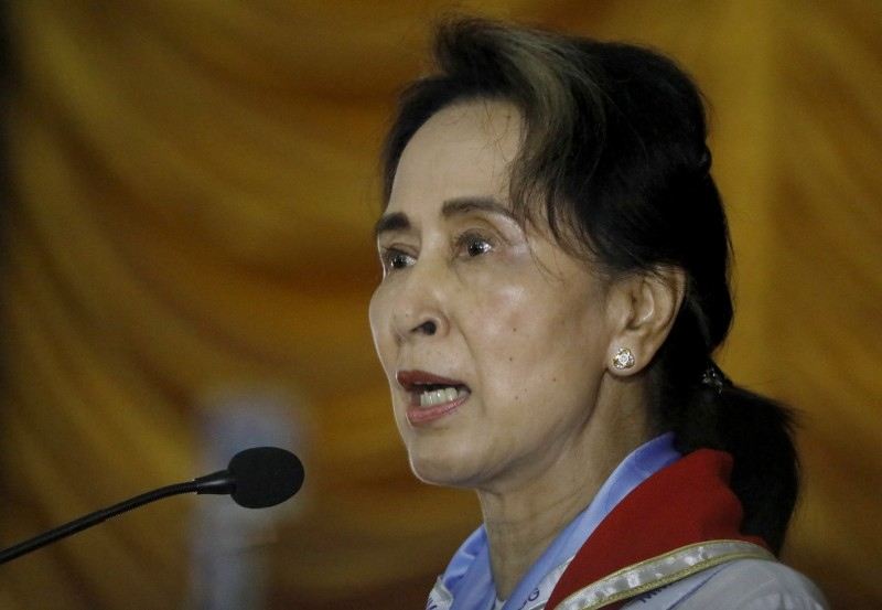 緬甸國務資政翁山蘇姬(Aung San Suu Kyi)曾獲諾貝爾和平獎,不過她近來被外界指責漠視少數族群羅興亞人被鎮壓一事。(歐新社)
