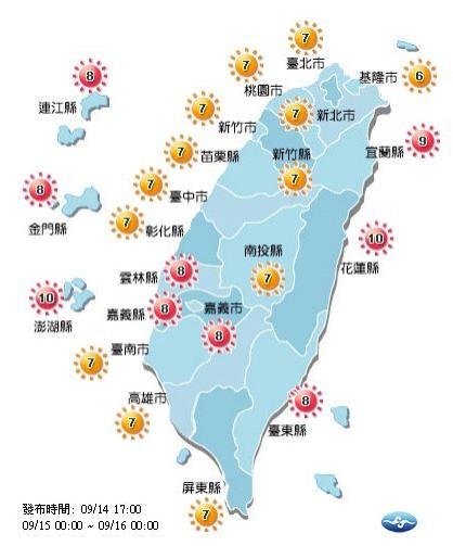 紫外線方面,宜花東、雲嘉南、彭金馬達紅色「過量級」,其他地區是橘色「高量級」。(截取自中央氣象局)