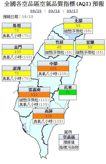空品方面,花東為「良好」等級;北北基、桃竹苗、宜蘭、澎金馬為「普通」等級;中南部為「橘色提醒」等級。(截取自環保署空氣品質監測網)