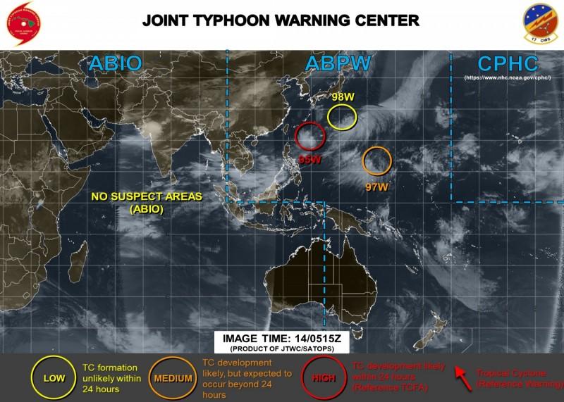 美軍示警,目前西太平洋有3個低壓系統同時發展。(圖擷取自JTWC)