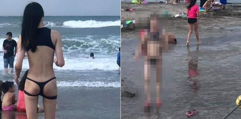 網路瘋傳1張海邊性感背影照,引發網友熱議。(圖擷取自爆廢公社)