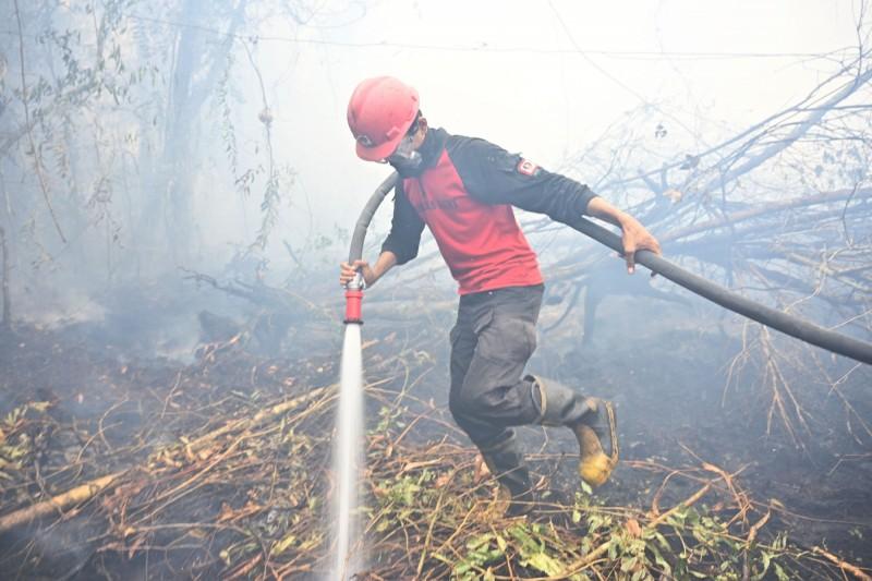 消防員表示,「就算我們設法撲滅地面上的火災,有時候並不代表結束,因為火苗仍在地下燃燒」。(法新社)