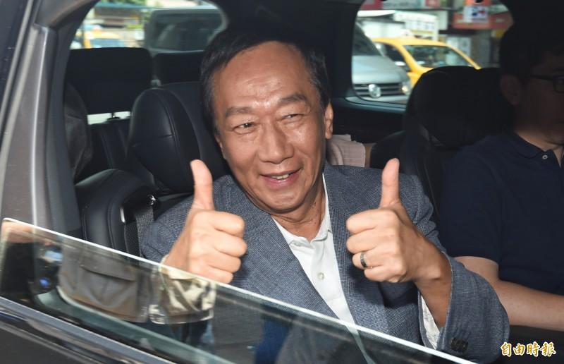 鴻海集團創辦人郭台銘(見圖)16日深夜宣布不參與連署競選總統,國民黨得知後大讚「我們感受到郭董國際級企業家的高度與氣度」。(資料照,記者劉信德攝)