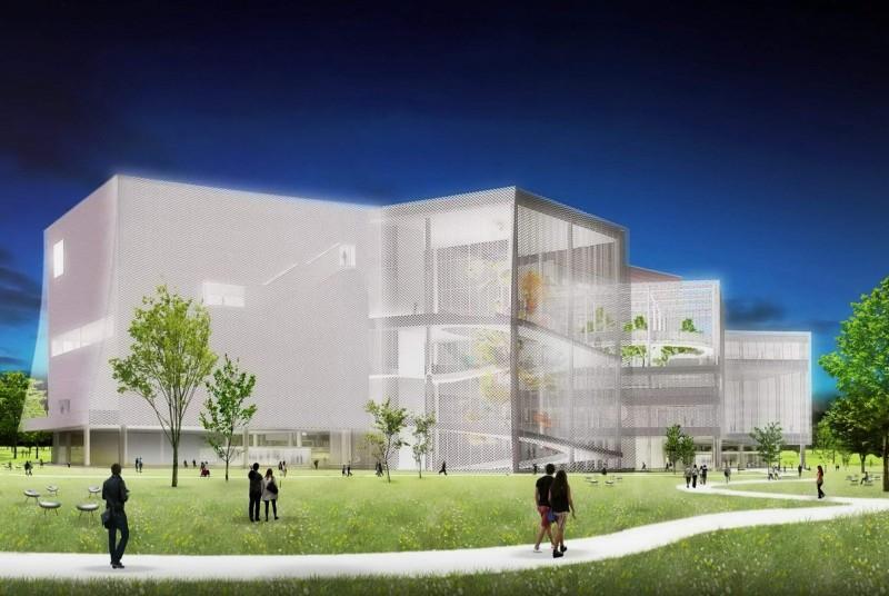 圖書館、美術館共構的「台中綠美圖」今開工。圖為台中綠美圖模擬圖。(資料照,台中市府提供)