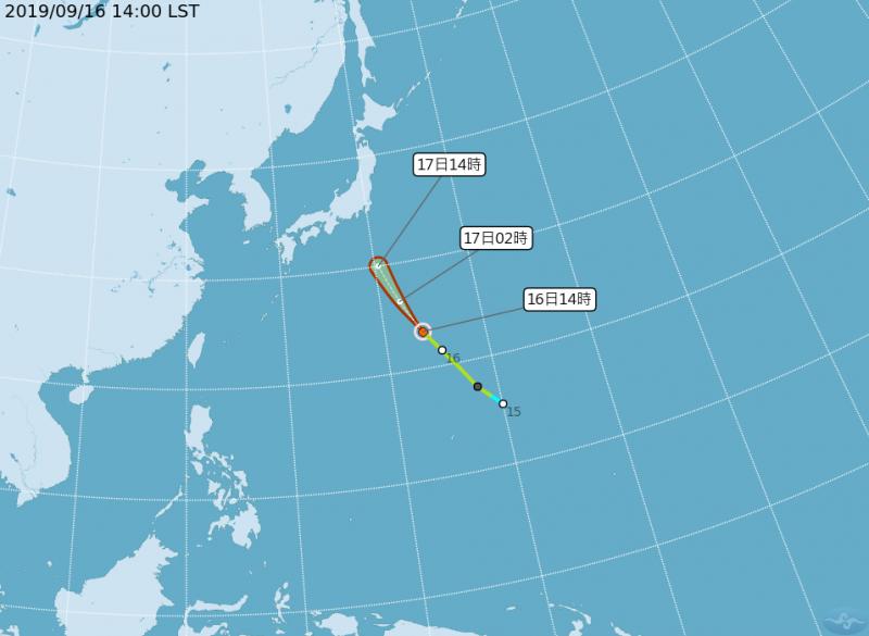 第16號颱風「琵琶」路徑潛勢圖,預計將持續朝西北往日本方向移動,不影響台灣。(圖擷取自中央氣象局)