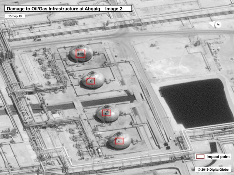 位於阿布蓋格的石油設施遭到攻擊。(美聯社)