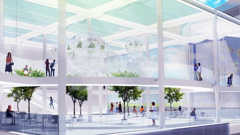 圖書館、美術館共構的「台中綠美圖」今開工,圖為台中綠美圖內部空間模擬圖。(資料照,台中市府提供)