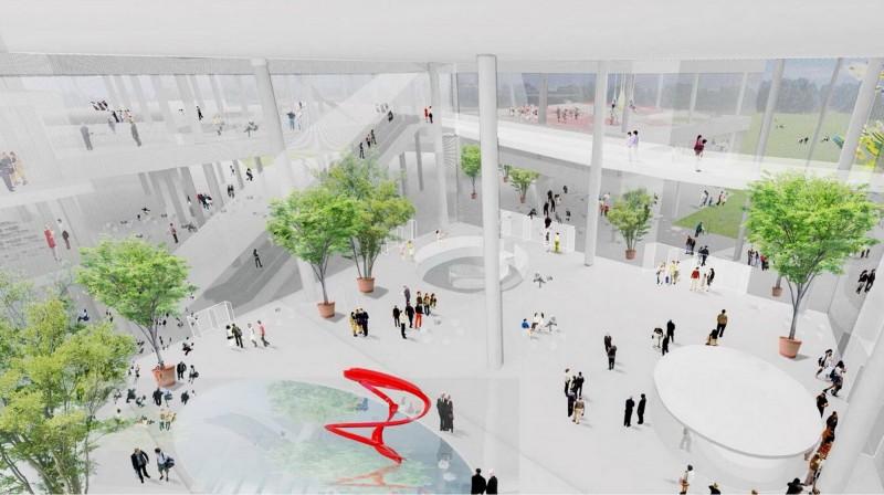 圖書館、美術館共構的「台中綠美圖」今開工, 台中綠美圖內部空間模擬圖。(資料照,台中市府提供)