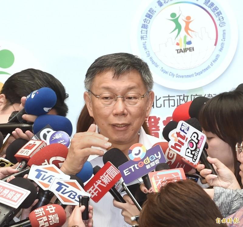 郭台銘如果參選,是否會送上什麼祝賀的話?柯文哲說,以前講過啦,「台灣重開機」,這是自己幫郭想的口號。(記者方賓照攝)