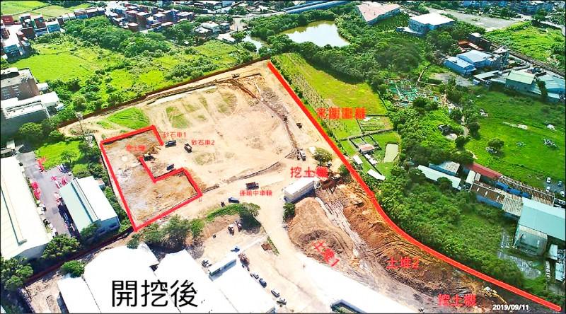 9月11日空拍圖,新建工程已開挖了。 (記者陳恩惠翻攝)