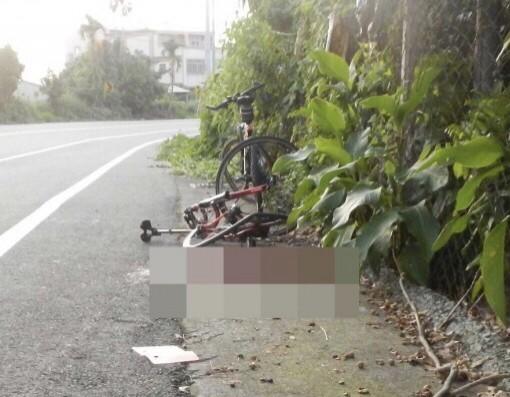 倪生與父親騎車,突遭撞擊身亡。圖為其單車。(記者顏宏駿翻攝)
