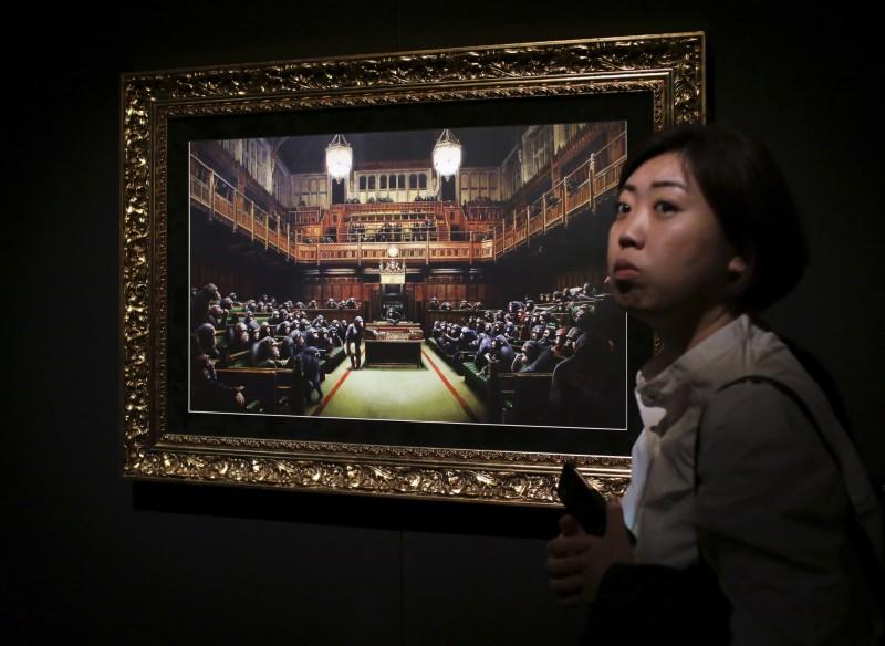 班克西「黑猩猩下議院」下月拍賣 蘇富比:沒藏碎紙機