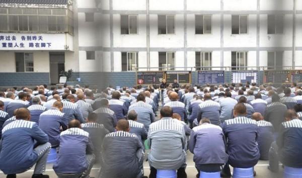 中國監獄情境照。(擷取自微博)