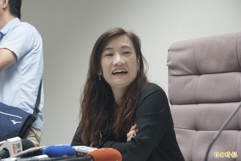 韓國瑜是否承諾不會請假拚選舉?王淺秋:「你可以保證不會離婚嗎?」(記者黃佳琳攝)