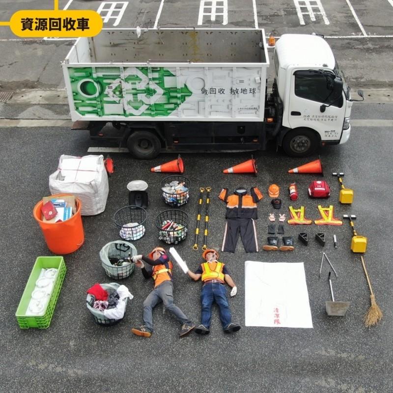資源回收車用各式回收籃,提醒大家要正確分類喔!(環保局提供)