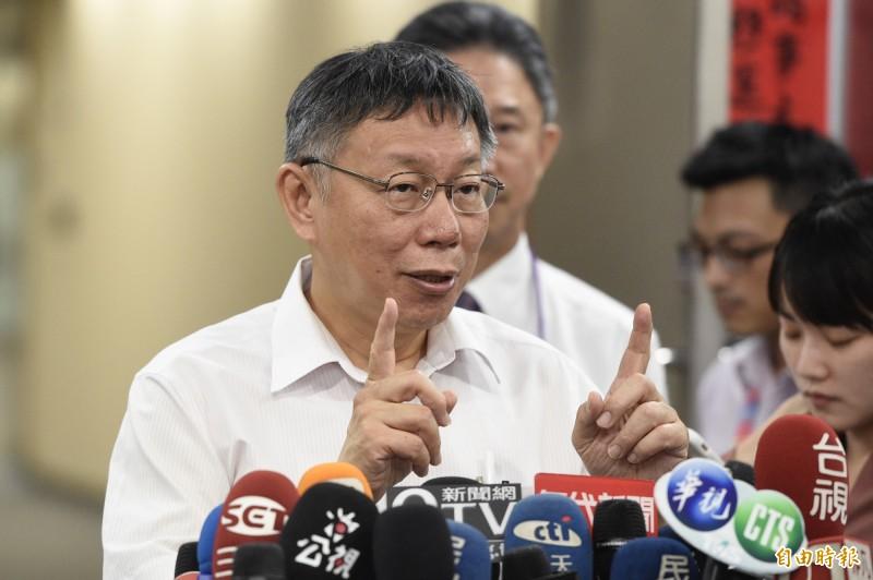 台北市長柯文哲18日在市府接受媒體訪問。(記者叢昌瑾攝)