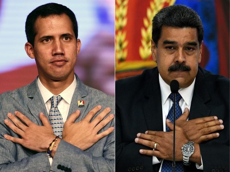 委內瑞拉總統鬧雙胞,左為取得歐美50多國家支持的反對派領袖瓜伊多(Juan Guaido),右為原總統馬杜羅(Nicolas Maduro)。(法新社)