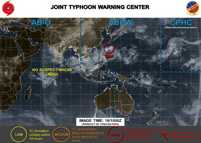 美軍研判,95W熱低將在24小時內成為熱帶氣旋。(圖擷取自JTWC)