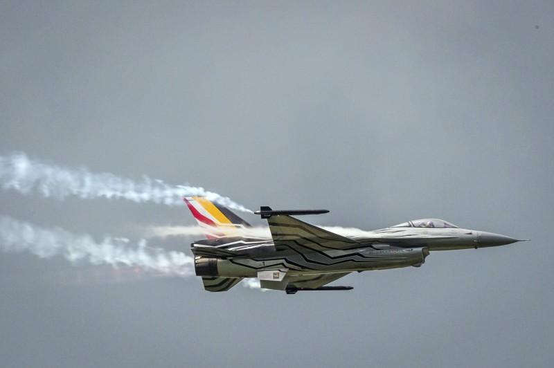 比利時空軍一架F-16戰機今(19)日墜毀於法國西部。比利時空軍F-16戰機示意圖。(資料照,美聯社)