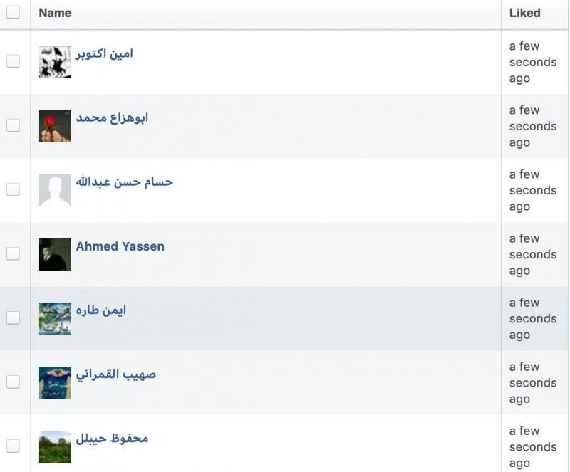 柯昱安PO出一張後台「證據」,表示這些按讚的人「完全都是阿拉伯人」。(擷取自柯昱安臉書)