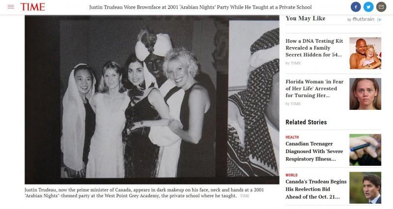 2001年加拿大一所學院舉辦「阿拉伯之夜」派對,杜魯道把臉、手、頸部塗成棕黑色,頭戴阿拉伯頭巾,扮演「阿拉丁」。(圖擷自Time網站)