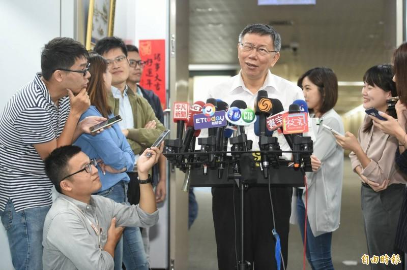 台北市長、台灣民眾黨主席柯文哲今早於媒體聯訪時談及下屆總統、立委選舉話題。(記者劉信德攝)