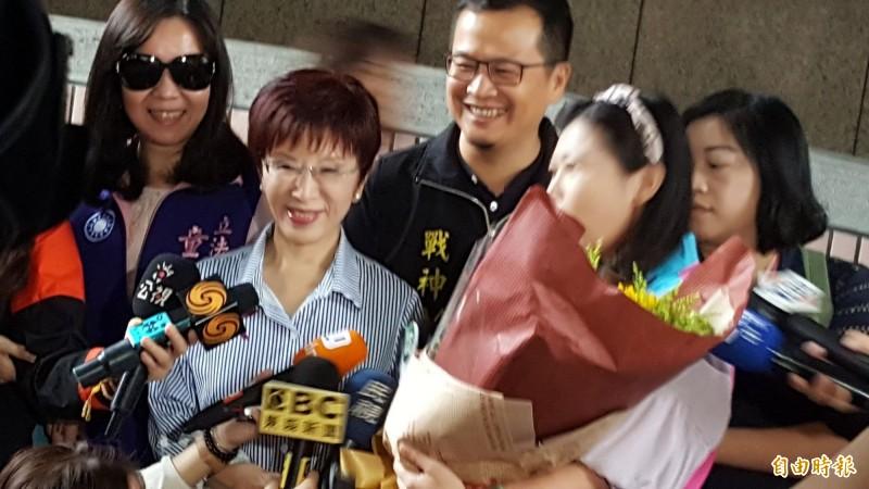 洪秀柱表示,她倒是希望吳敦義到艱困選區選,讓藍軍士氣可以提升。(記者楊心慧攝)