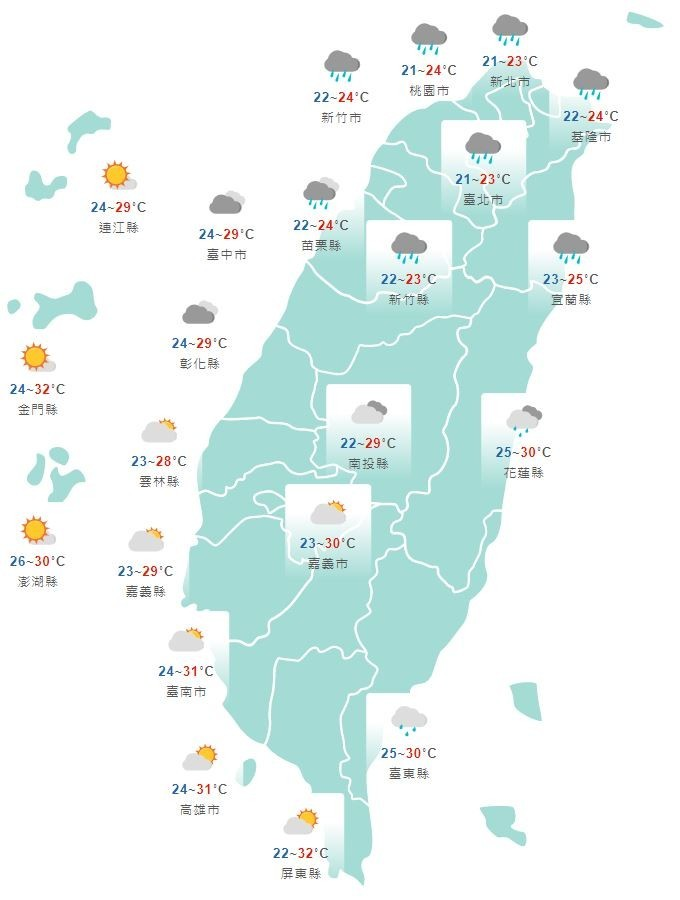 溫度方面,北台灣因降雨關係,高溫僅23至25度,其他地區高溫仍達29至32度。(截取自中央氣象局網站)