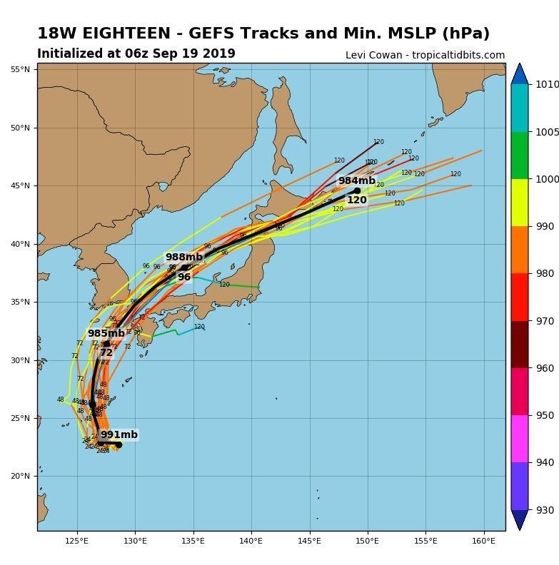 全球預報系統(GFS)模擬路徑圖顯示,颱風可能穿越對馬海峽,登陸日本本州北部地區。(圖擷取自tropicaltidbits)
