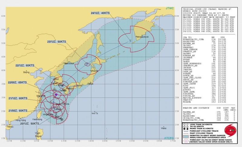 美軍預報圖指出,颱風可能從22日午夜起發展出12級風暴風圈。(圖擷取自JTWC)