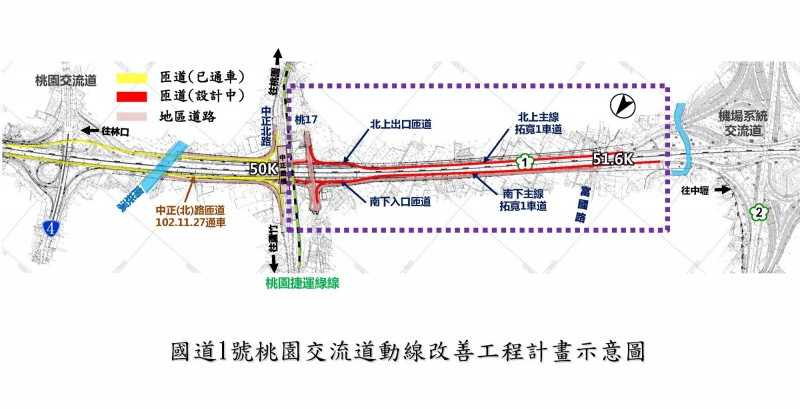國道一號中正北路交流道半套變全套 2021年7月通車