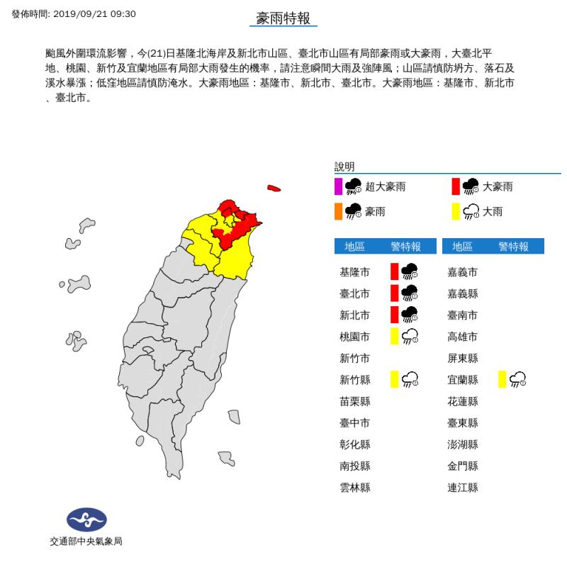 塔巴外圍環流肆虐 6縣市嚴防大雨、北北基大豪雨特報