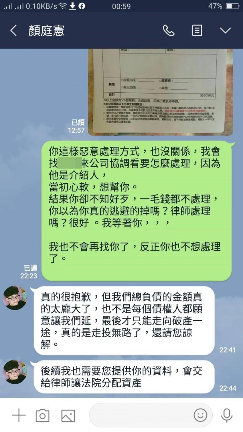 廠商吳舜宙與覺醒藝術負責人顏廷憲的對話。(記者林宜樟翻攝)