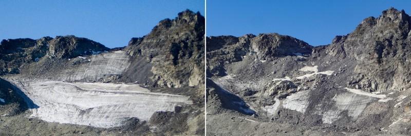 與2006年相較,皮措爾冰川已失去約80%至90%的冰量,目前冰川覆蓋面積僅約2萬6000平方公尺。(法新社)