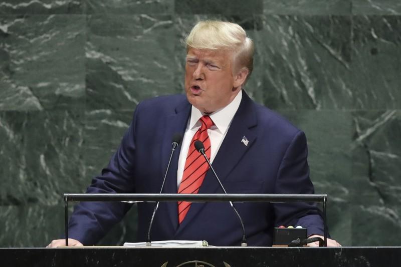 美國總統川普今(24)日在聯合國大會上發表談話,再談中國、伊朗及全球化問題。(法新社)