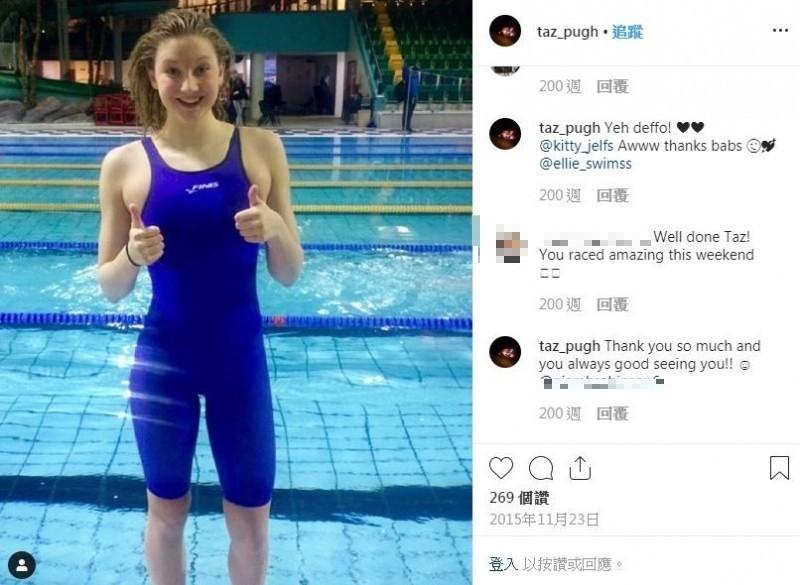 英國一名18歲前「游泳選手」普拉(Tazmin Pugh)與21歲男友柯克(Josh Kirk)日前因延長線走火,當場在鐵皮屋改造的家中活活燒死!(取自IG)