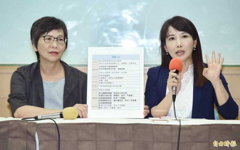 永齡基金會副執行長蔡沁瑜(右)與台北市市政顧問蔡璧如(左)27日共同召開記者會,針對鴻海創辦人郭台銘決定退選事件說明始末。(記者廖振輝攝)