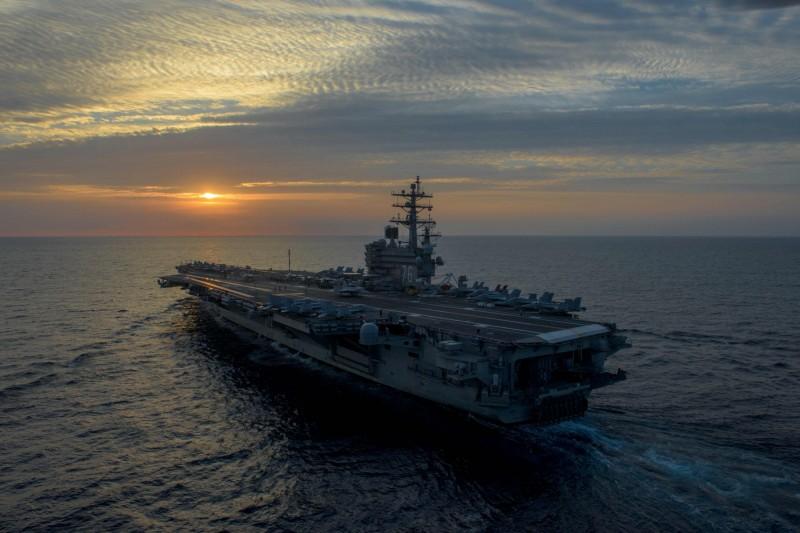 美軍核動力航母「雷根號」被爆料,日前單艦駛入南海海域。「雷根號」航母示意圖,非此次航行。(法新社)