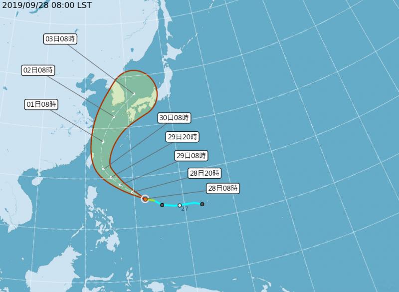中央氣象局指出,颱風未來以從台灣東部外海至琉球海域北上機率較高,但距離遠近仍存在不確定性,請留意氣象局發布的最新資訊。(圖擷取自中央氣象局)